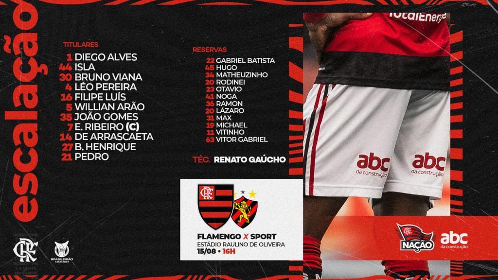 Flamengo escalado para pegar o Sport pelo Campeonato Brasileiro