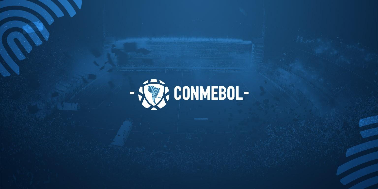 Logo da Conmebol com fundo azul