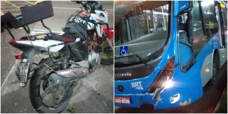 moto e ônibus articulado envolvidos no acidente