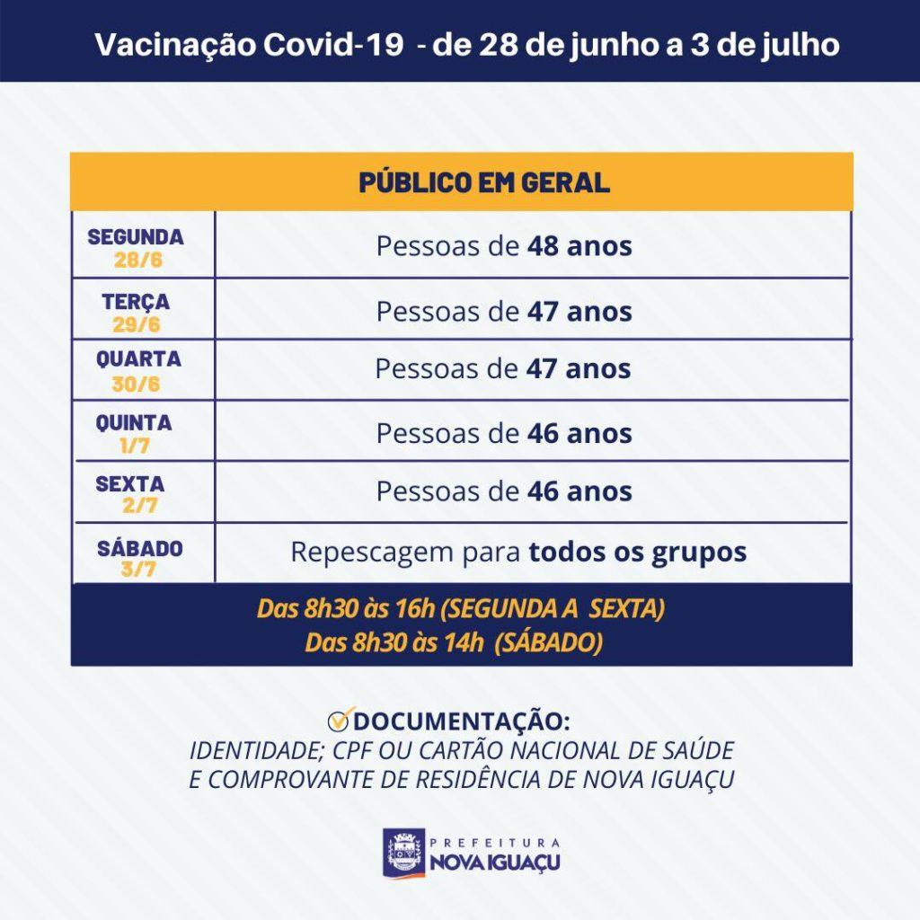 Calendário de vacinação em Nova Iguaçu