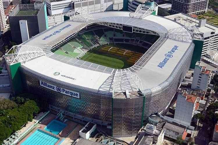 Imagem do alto do estádio do Palmeiras