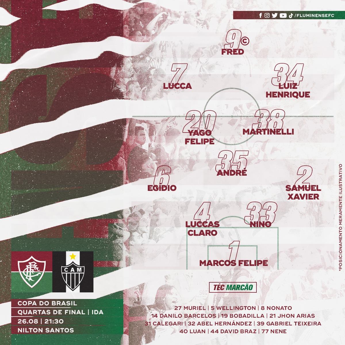 Fluminense escalado para pegar o Atlético-MG pelas quartas de final da Copa do Brasil