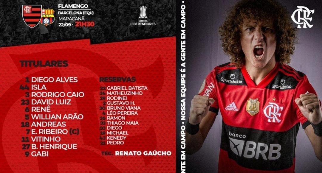 Com estreia de David Luiz, Flamengo escalado para pegar o Barcelona-EQU pela semifinal da Libertadores