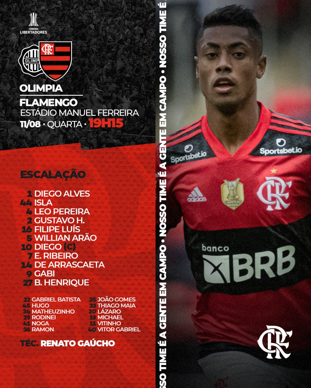 Flamengo escalado para pegar o Olimpia pelas quartas de final da Libertadores