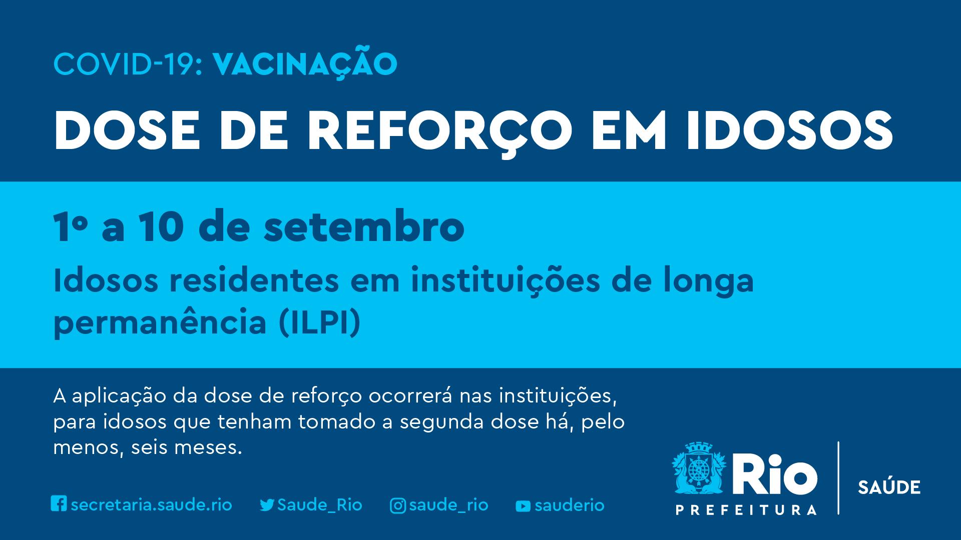 Anúncio da Prefeitura do Rio da terceira dose em idosos