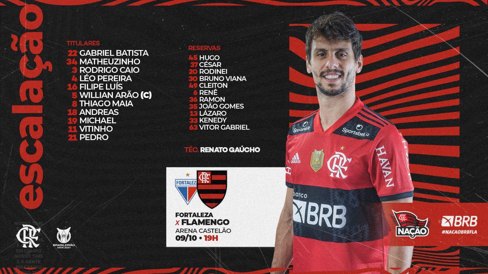 Flamengo escalado para pegar o Fortaleza pelo Campeonato Brasileiro