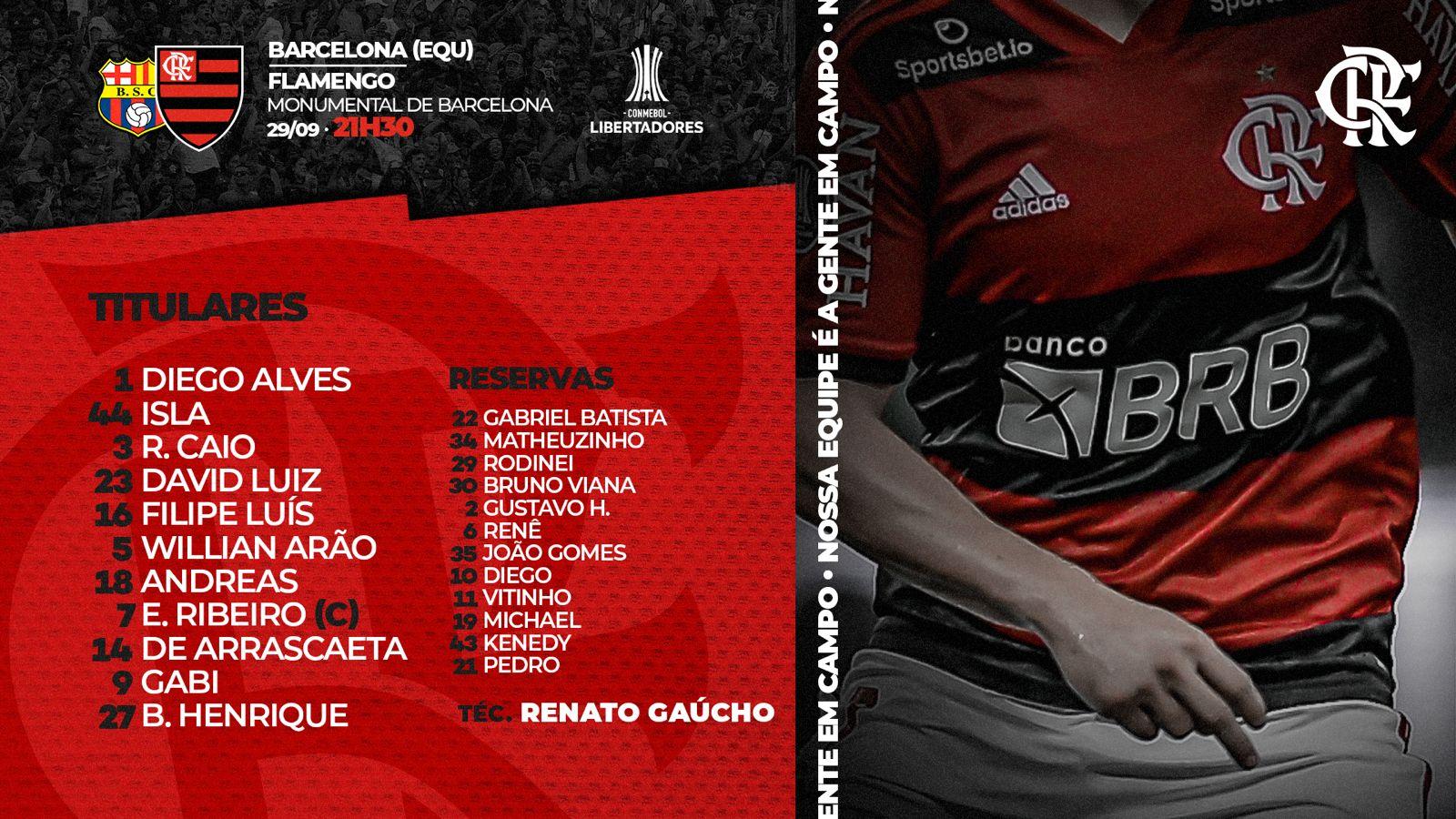 Flamengo escalado para pegar o Barcelona-EQU pela semifinal da Libertadores