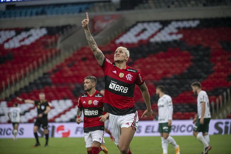 Pedro comemora gol sobre o Palmeiras no Maracanã