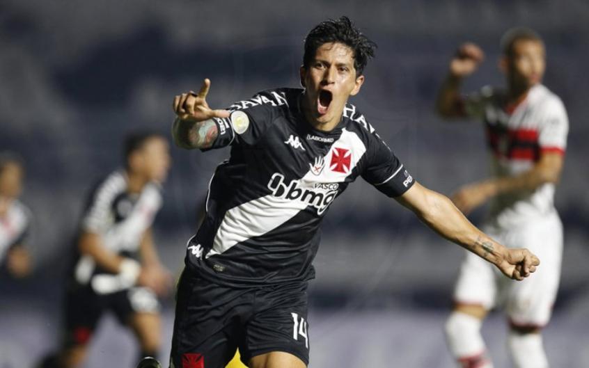 Germán cano comemorando o último gol marcado pelo Vasco
