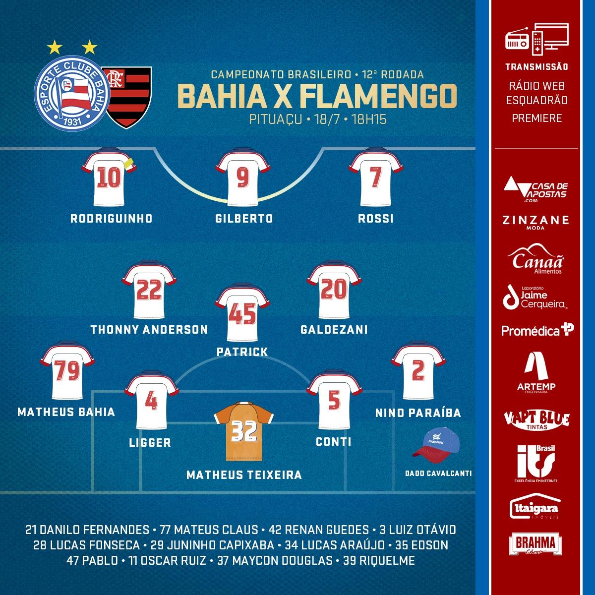 Bahia escalado para pegar o Flamengo pela Série A