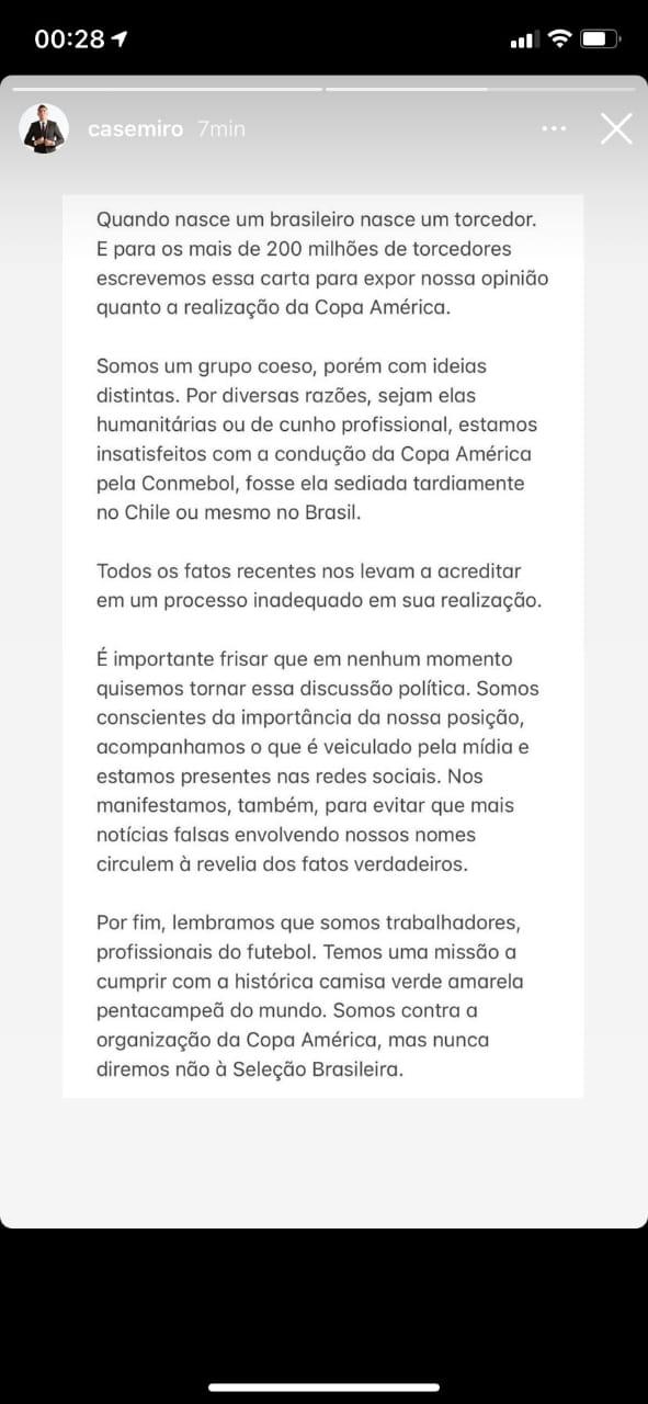 Texto dos jogadores do Brasil sobre a Copa América