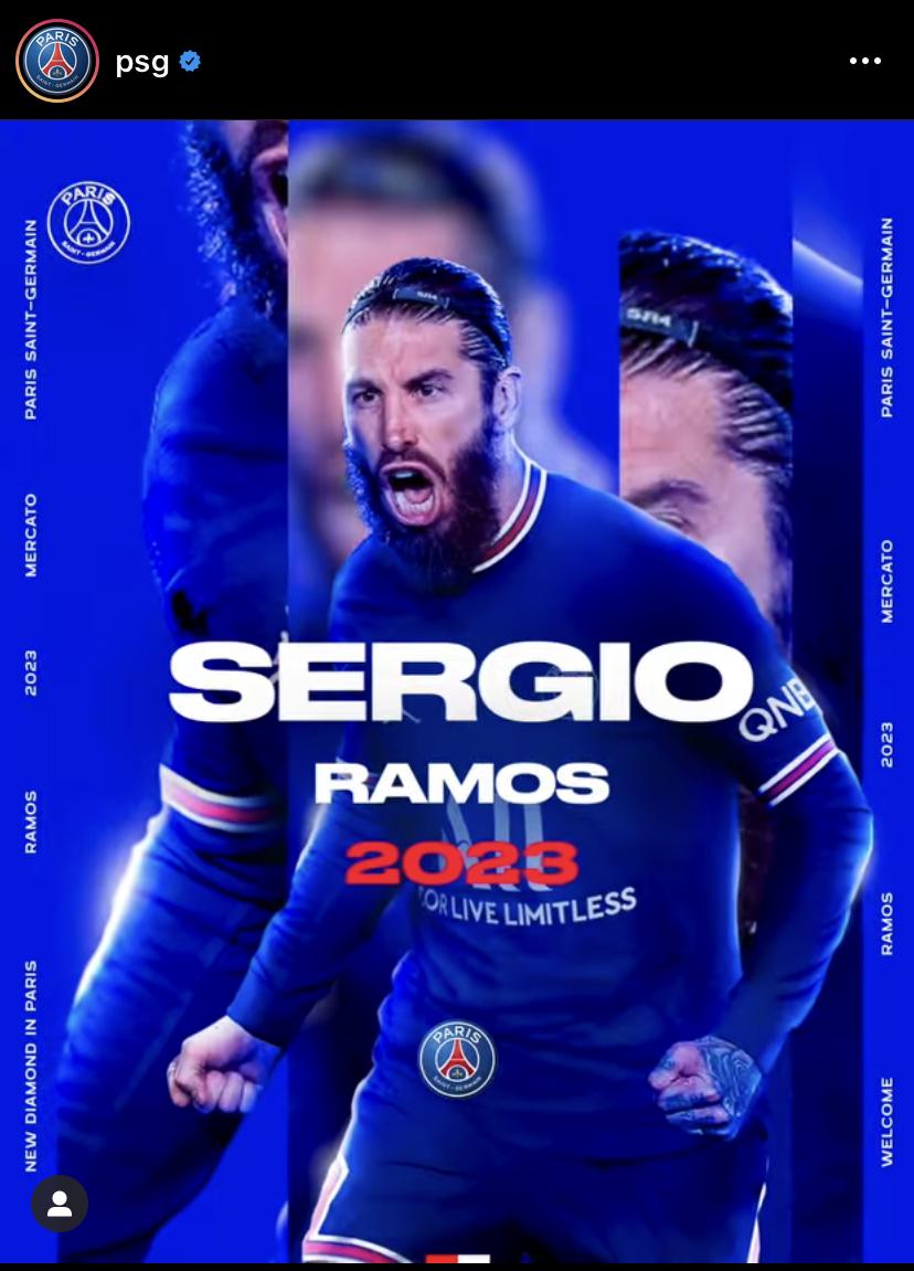 Instagram PSG Sergio Ramos