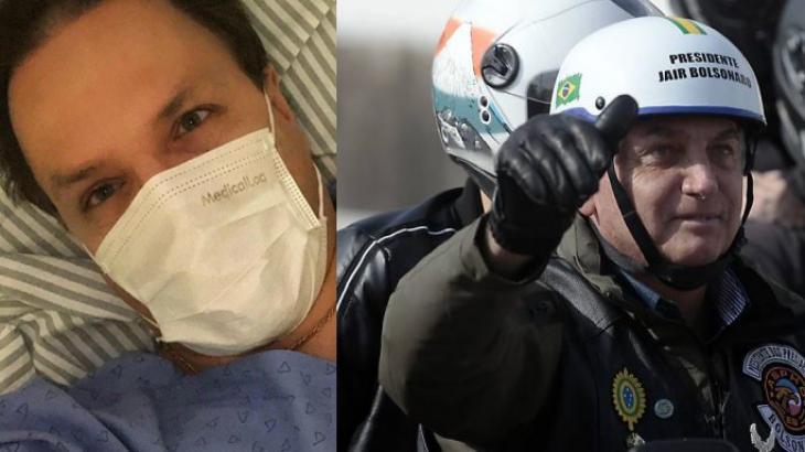 Alan Frank, médico e ex-Polegar deitado na cama do hospital