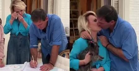 Ana Maria Braga e Johnny Lucet casando na casa dela em SP