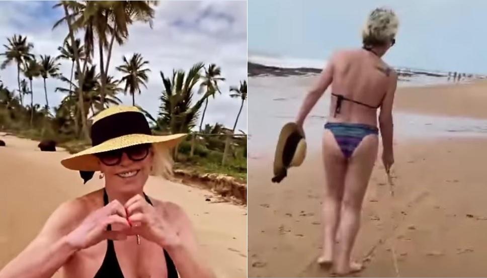 Ana Maria Braga caminhando na praia