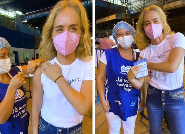 Angélica sendo vacinada no Rio