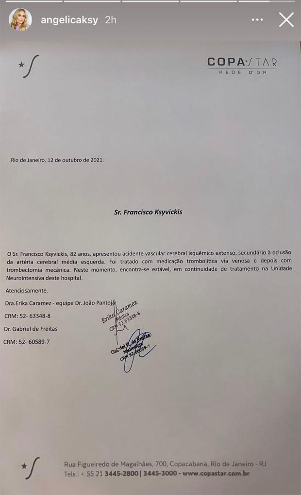 Boletim médico do pai da Angélica, Francisco