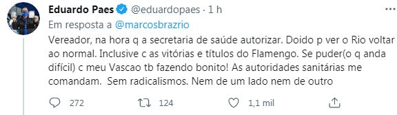 Eduardo Paes discute com Marcos Braz no Twitter