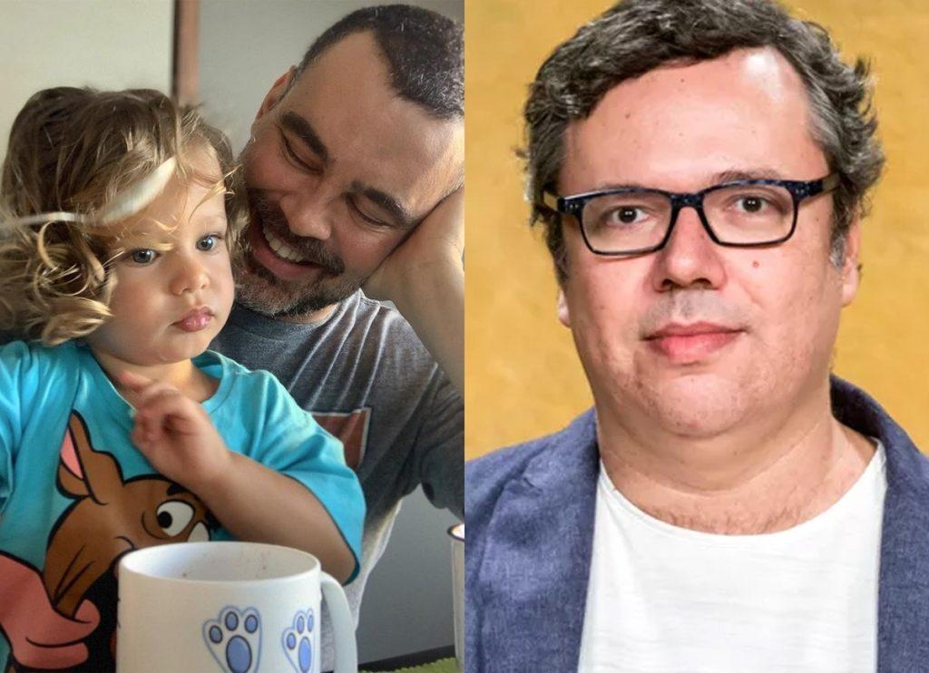 Montagem com Carmo Dalla Vecchia segurando o filho Pedro no colo e João Emanuel Carneiro