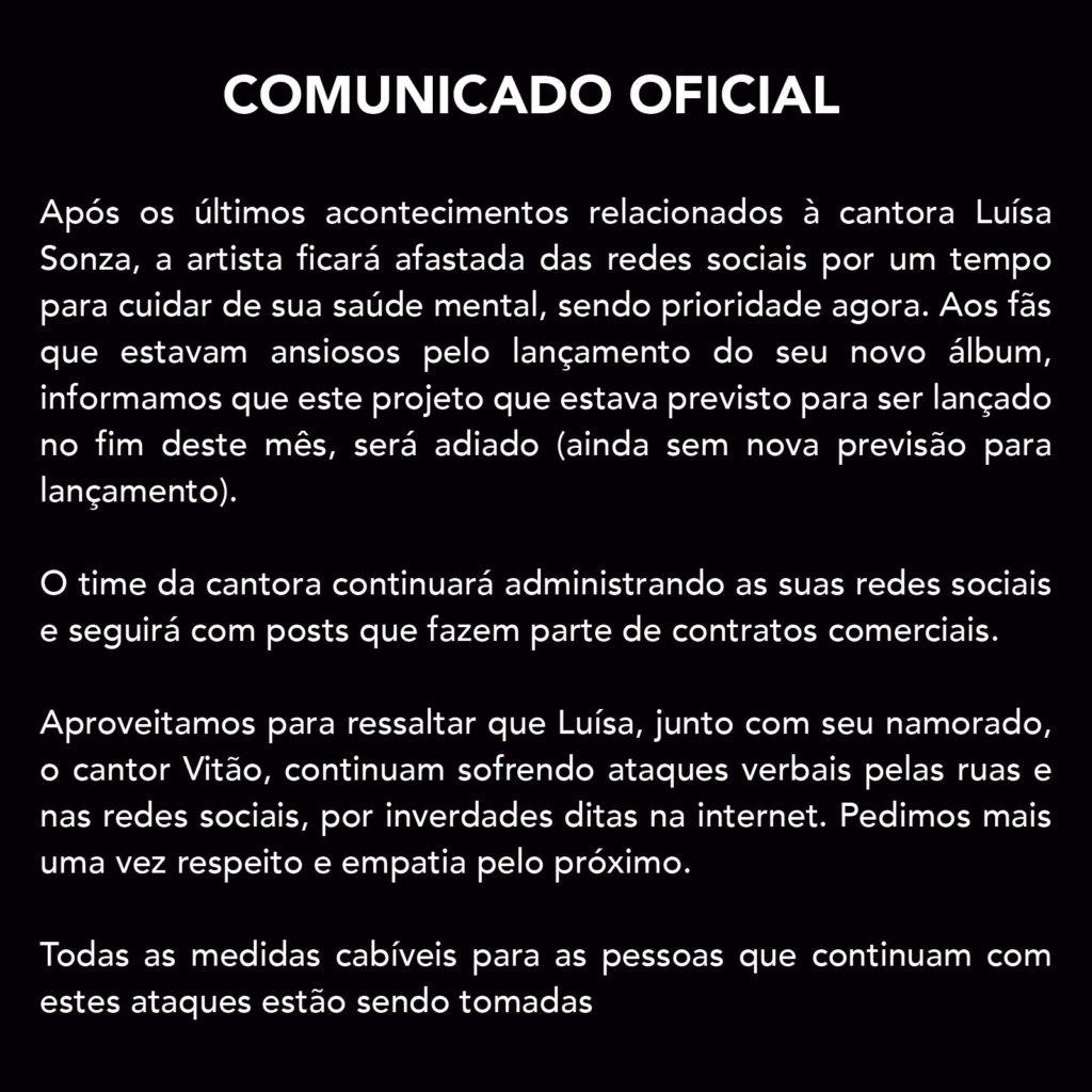 Comunicado equipe Luisa Sonza