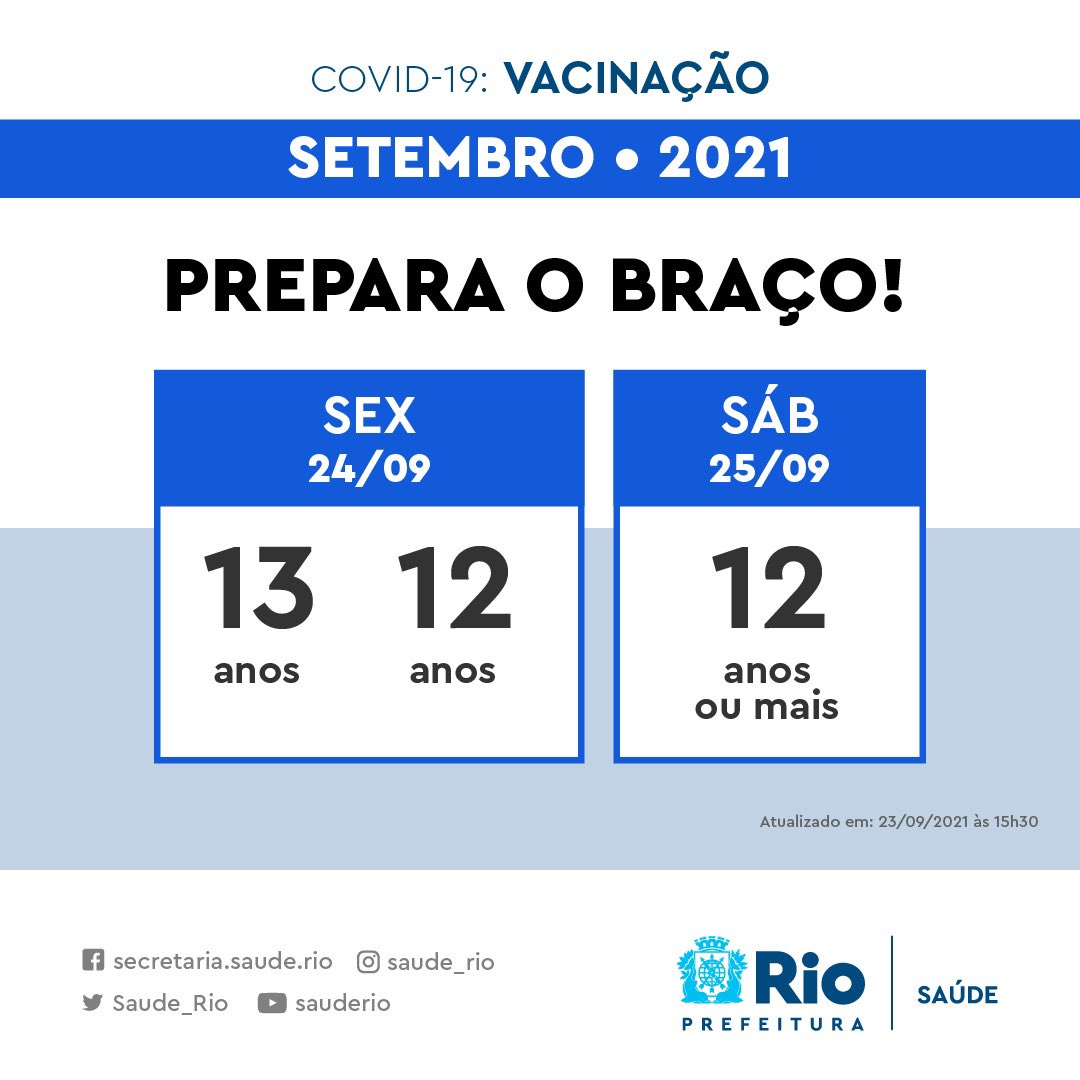 Novo calendário de vacinação contra a Covid-19 no Rio