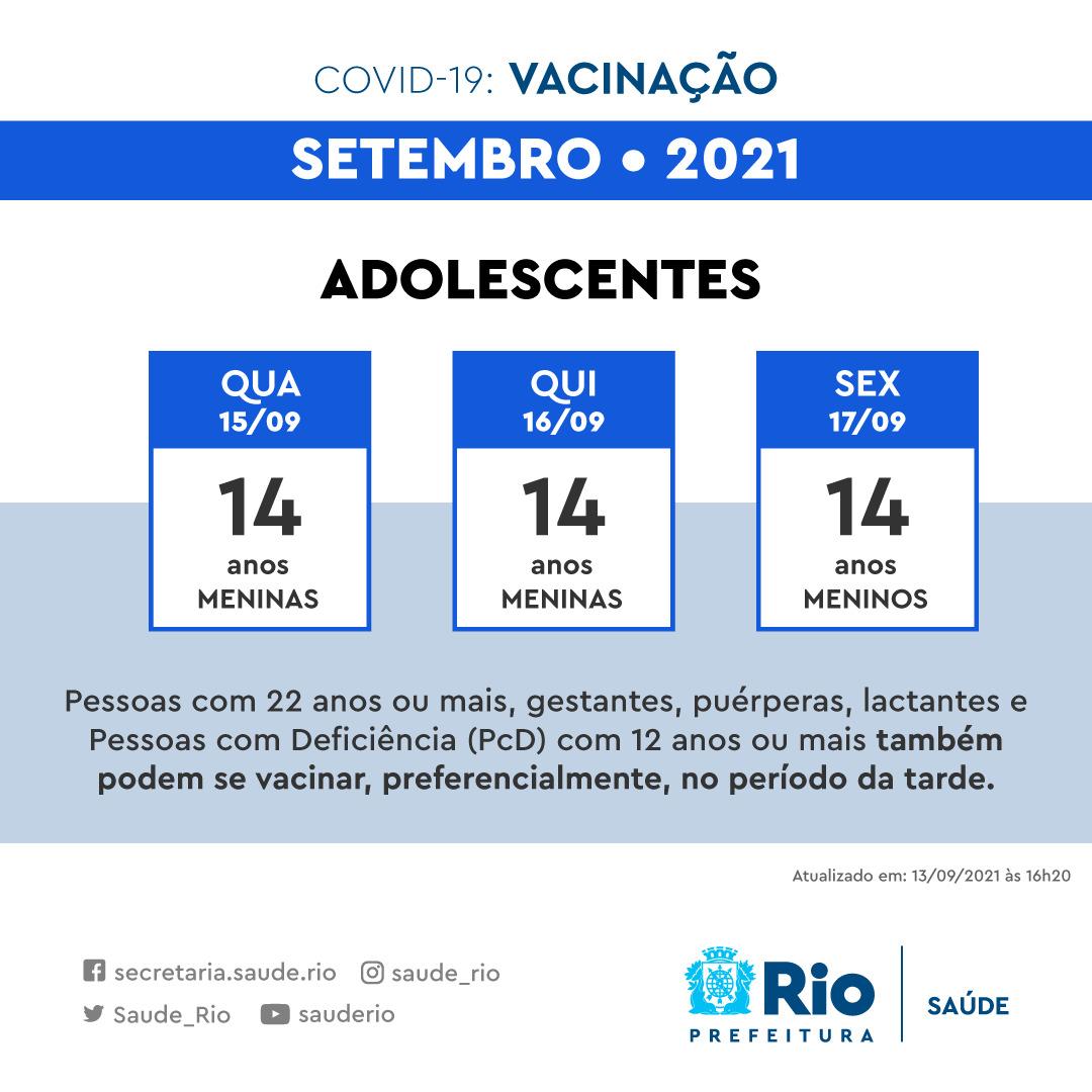 Calendário de vacinação contra Covid para os adolescentes de 14 anos no Rio
