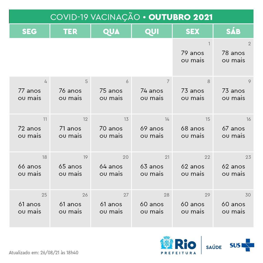 Calendário de vacinação para o mês de outubro