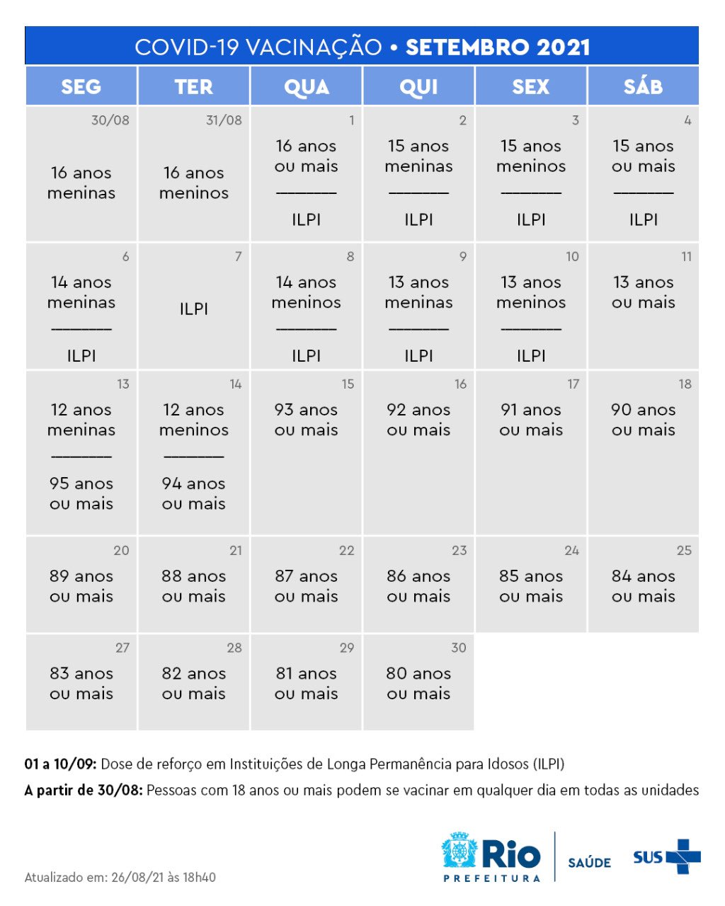 Calendário de vacinação para o mês de setembro