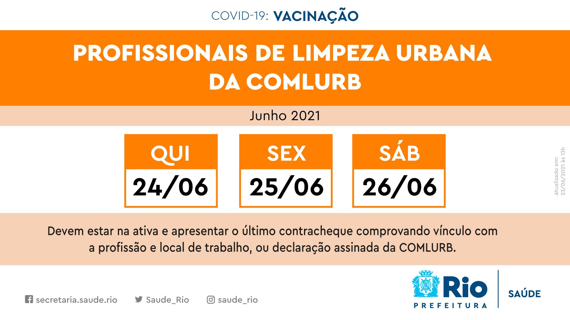 Calendário de vacinação contra a Covid-19 para os garis na cidade do Rio