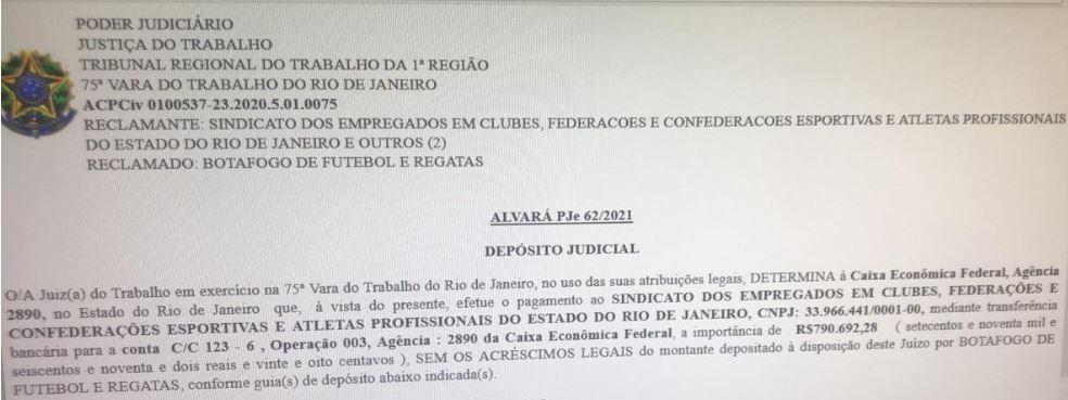 documento justiça pagamento rescisões funcionários Botafogo