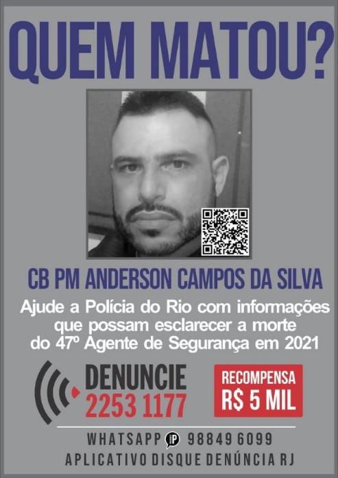 Cartaz do Disque Denúncia sobre a morte do cabo Anderson Campos da Silva, de 39 anos