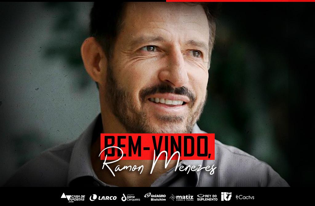 arte de apresentação do técnico Ramon Menezes no Vitória