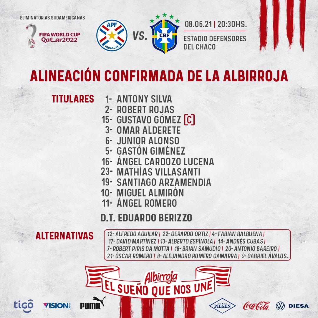 Paraguai escalado para pegar o Brasil