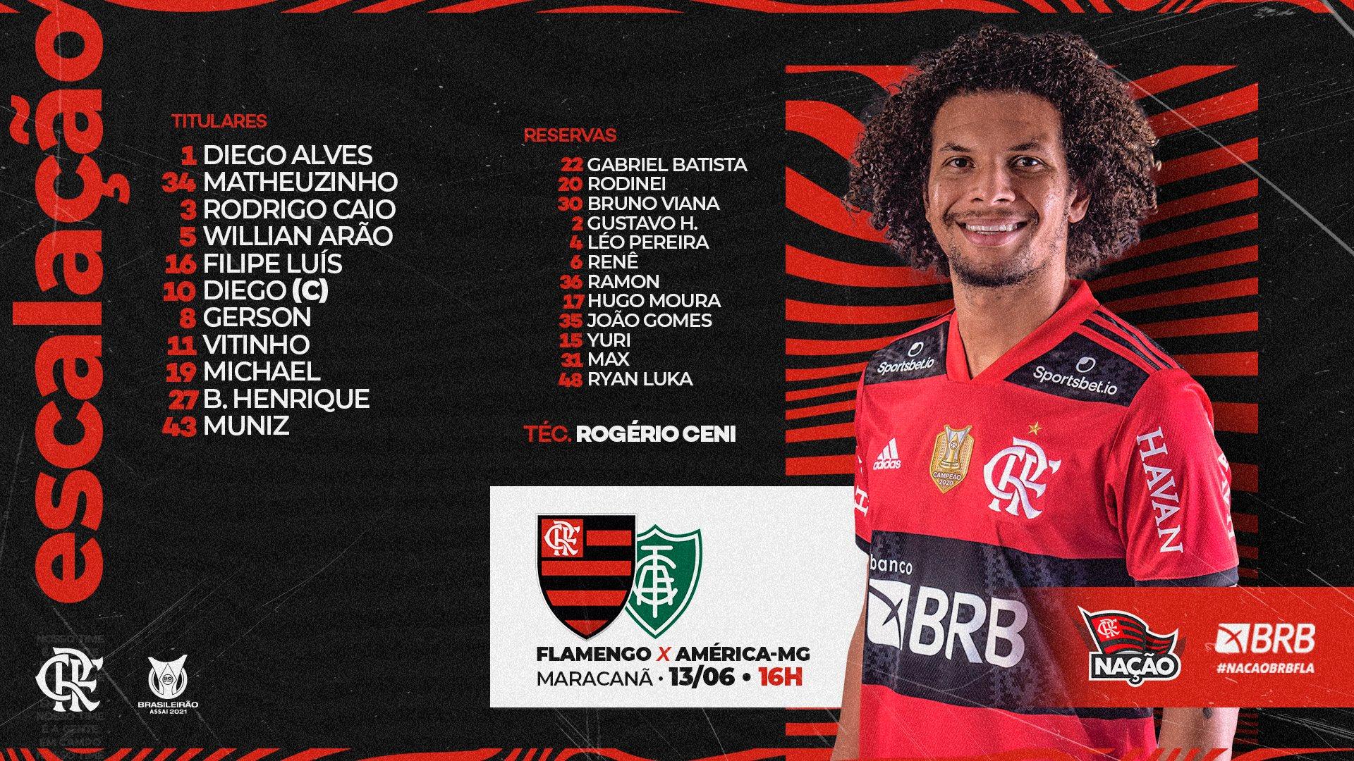 Flamengo está escalado para pegar o América-MG pela Série A