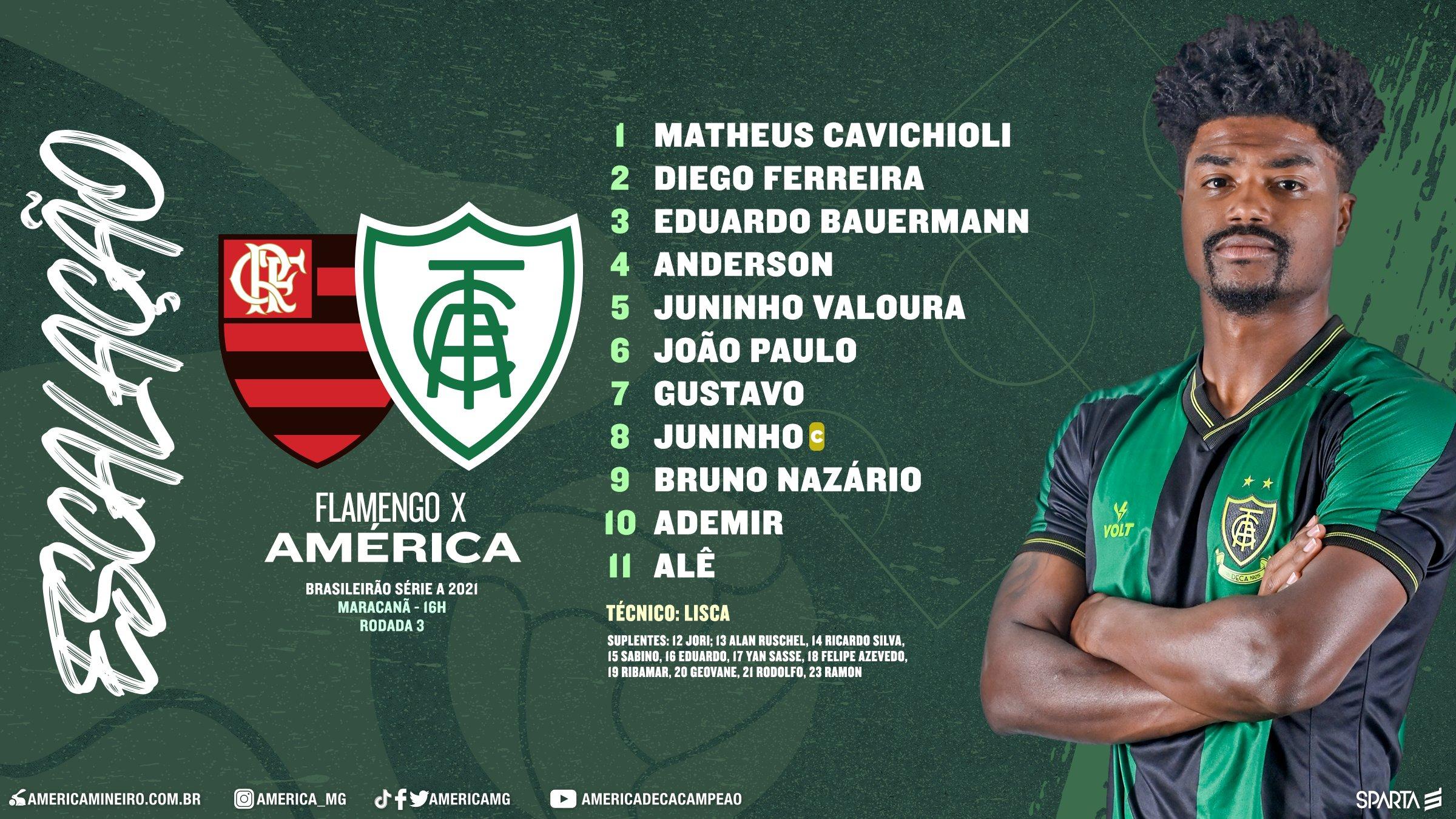 América-MG está escalado para pegar o Flamengo pela Séria A