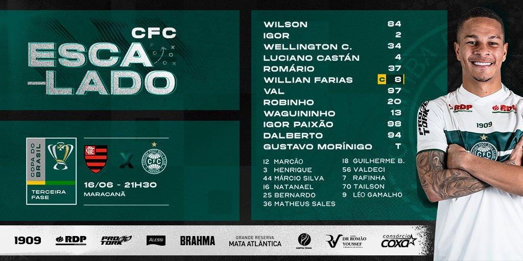 Coritiba escalado para pegar o Flamengo na Copa do Brasil