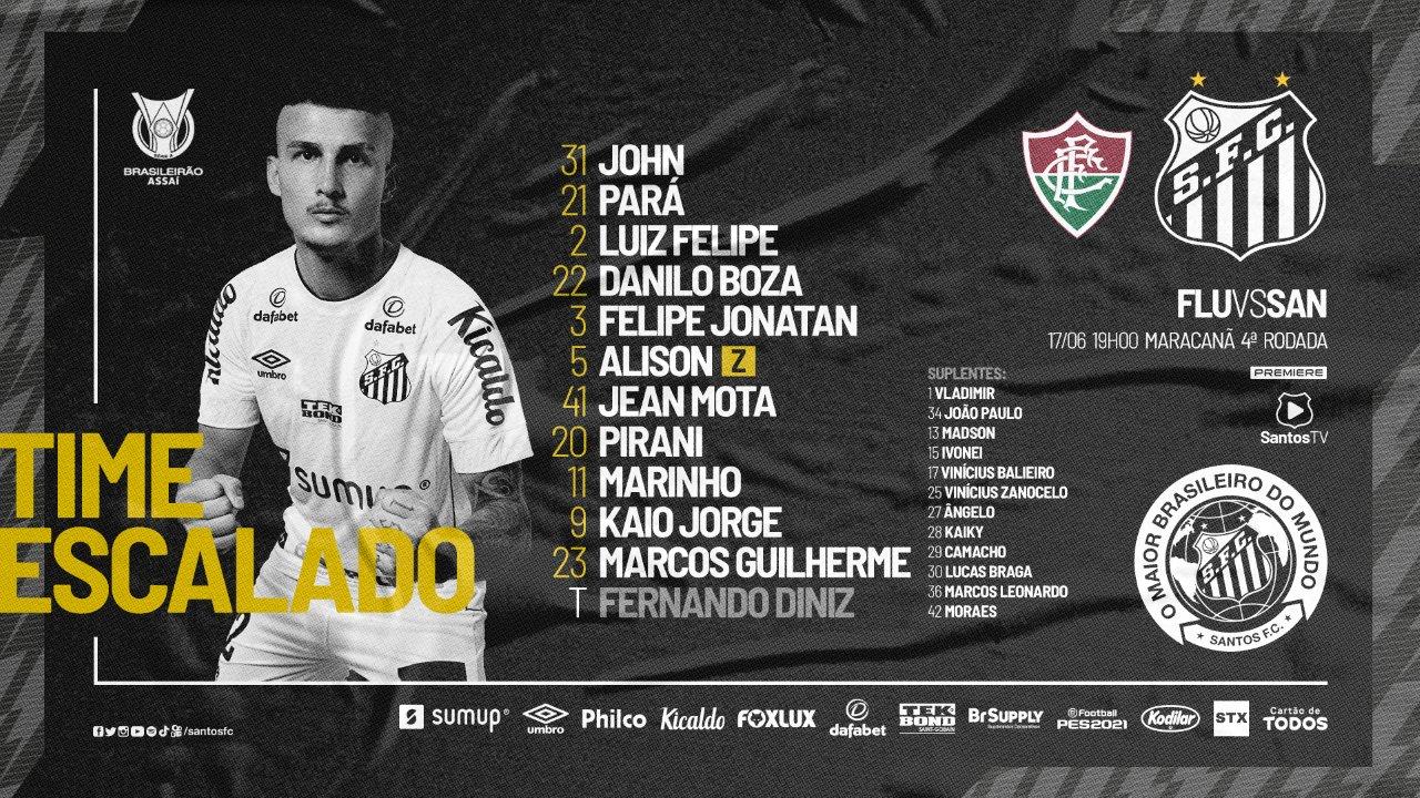 Santos escalado para pegar o Fluminense pela Série A