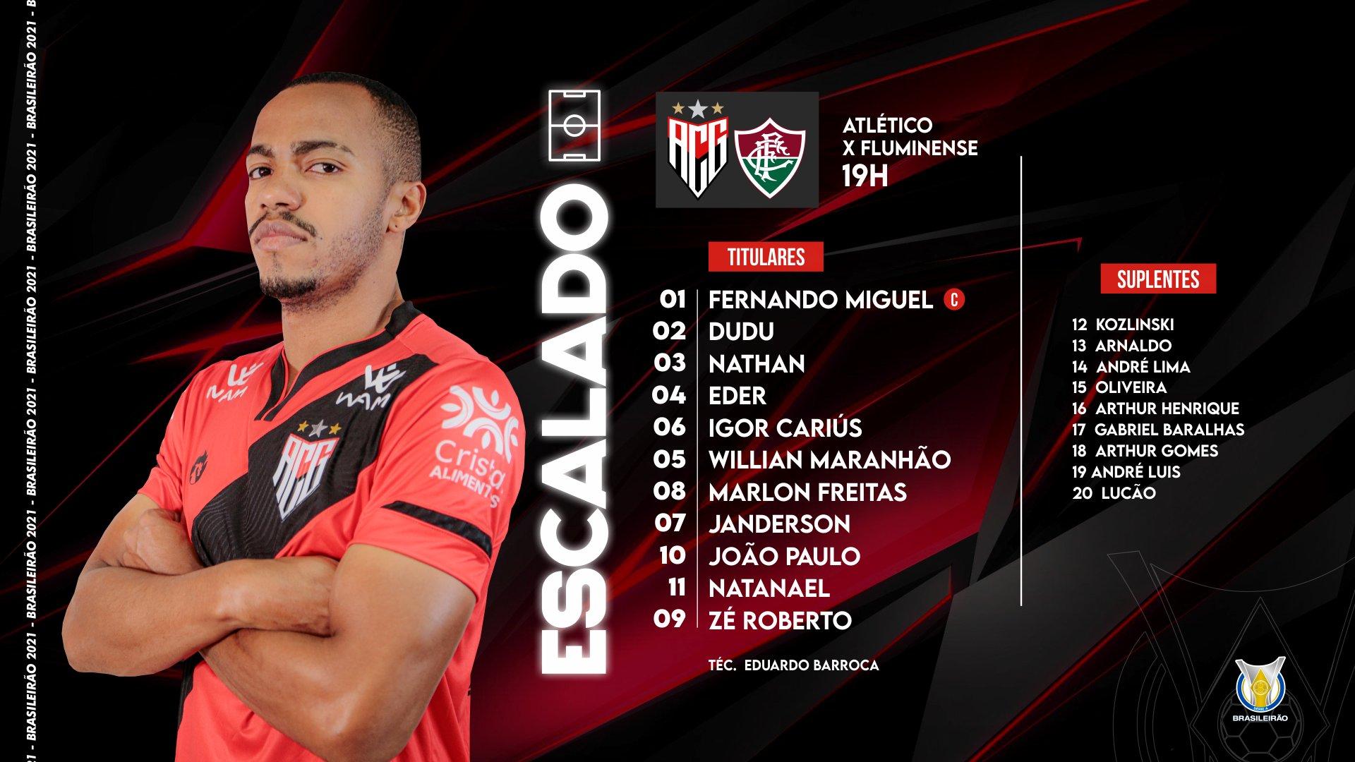 Atlético-GO escalado para pegar o Fluminense pela Série A