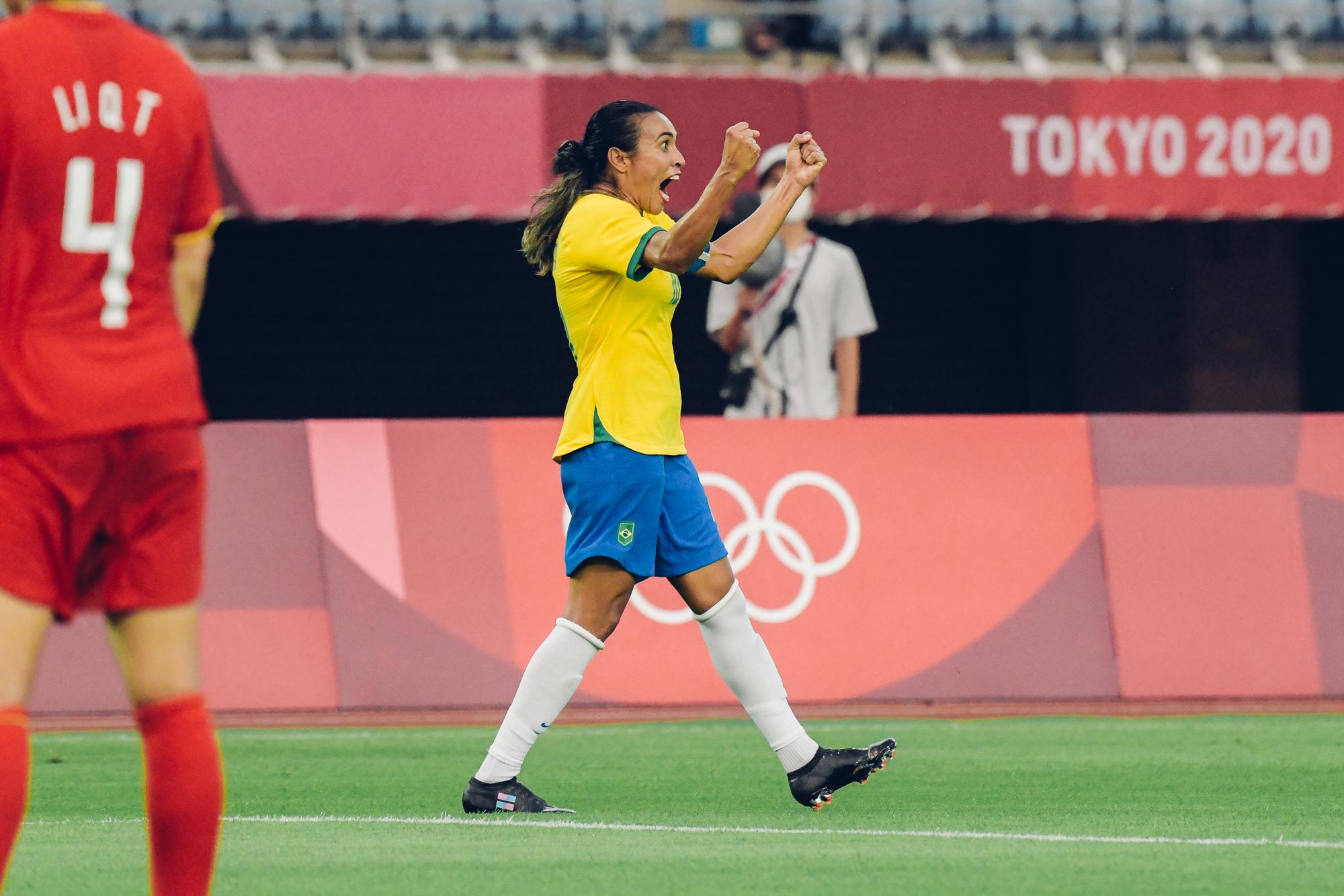 Marta comemora goleada brasileira contra a China na estreia da Olimpíada de Tóquio. Foto: Sam Robles / CBF