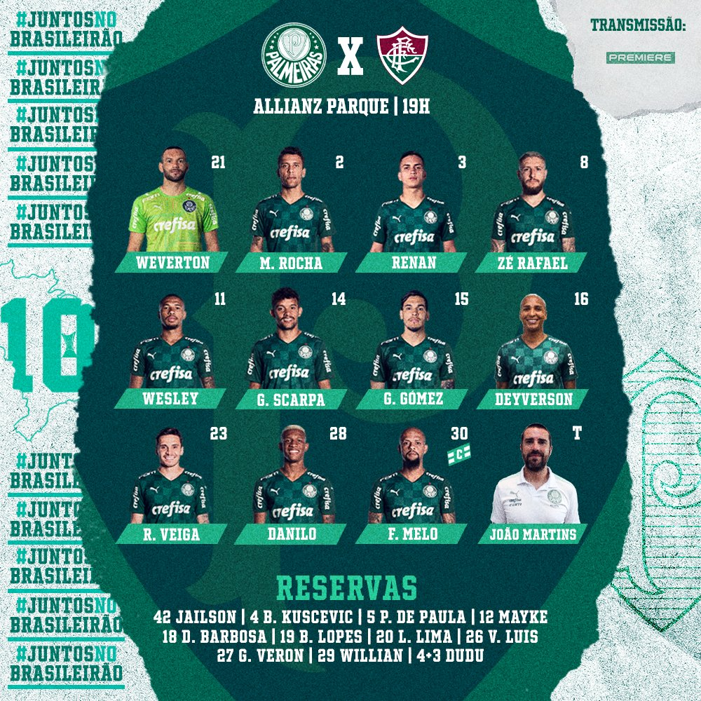 Palmeiras escalado para pegar o Fluminense pela Série A