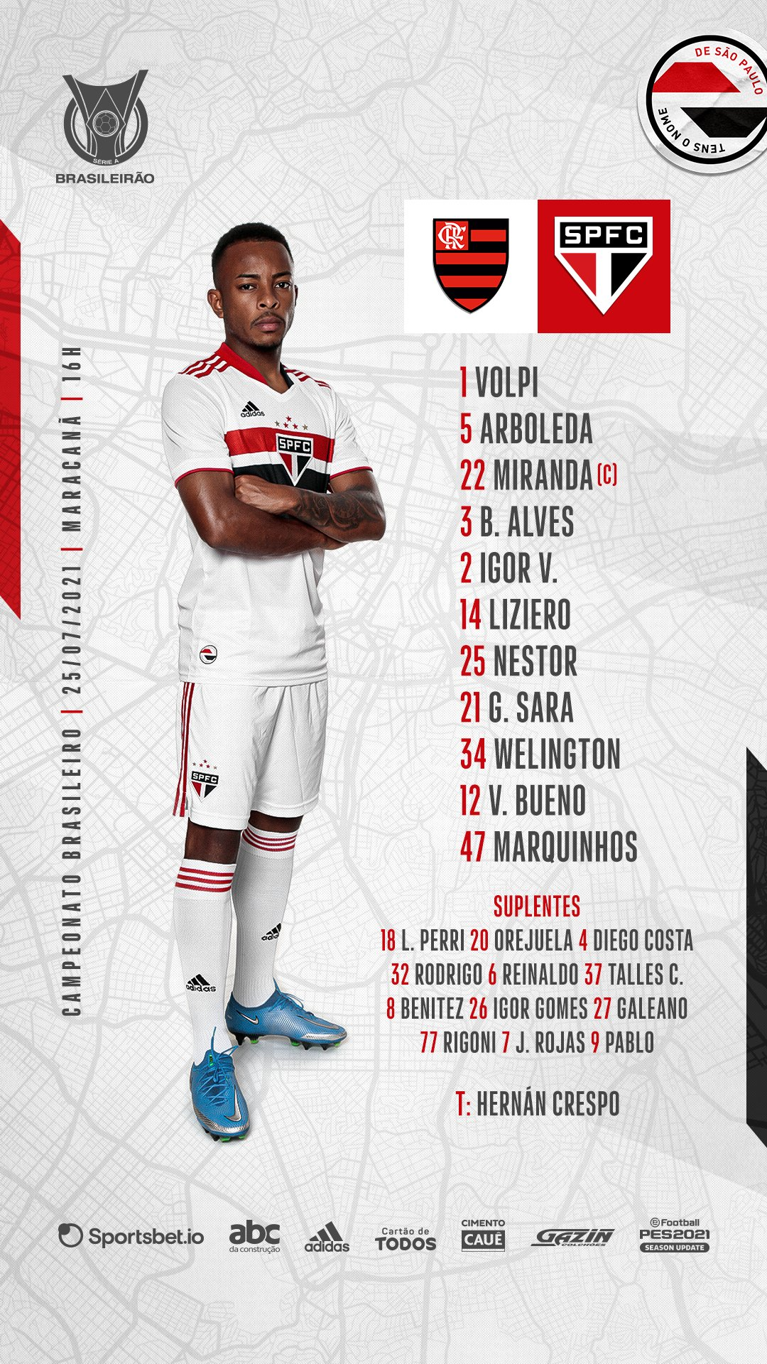 São Paulo escalado para pegar o Flamengo pelo Campeonato Brasileiro