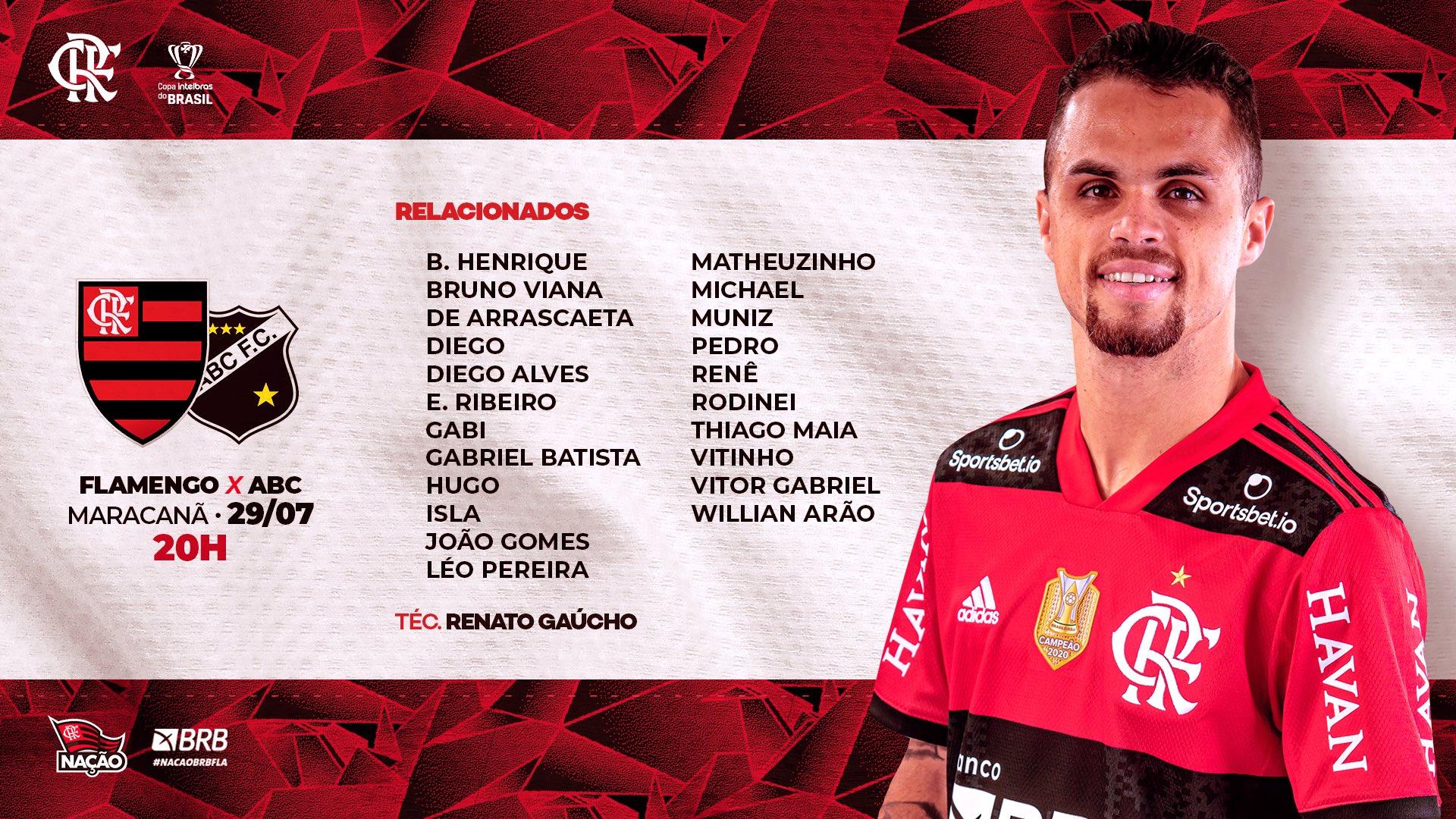 Flamengo divulga lista de relacionados para jogo contra o ABC de Natal pelas oitavas de final da Copa do Brasil