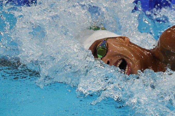 Nadador Guilherme Costa durante a final dos 800m livre