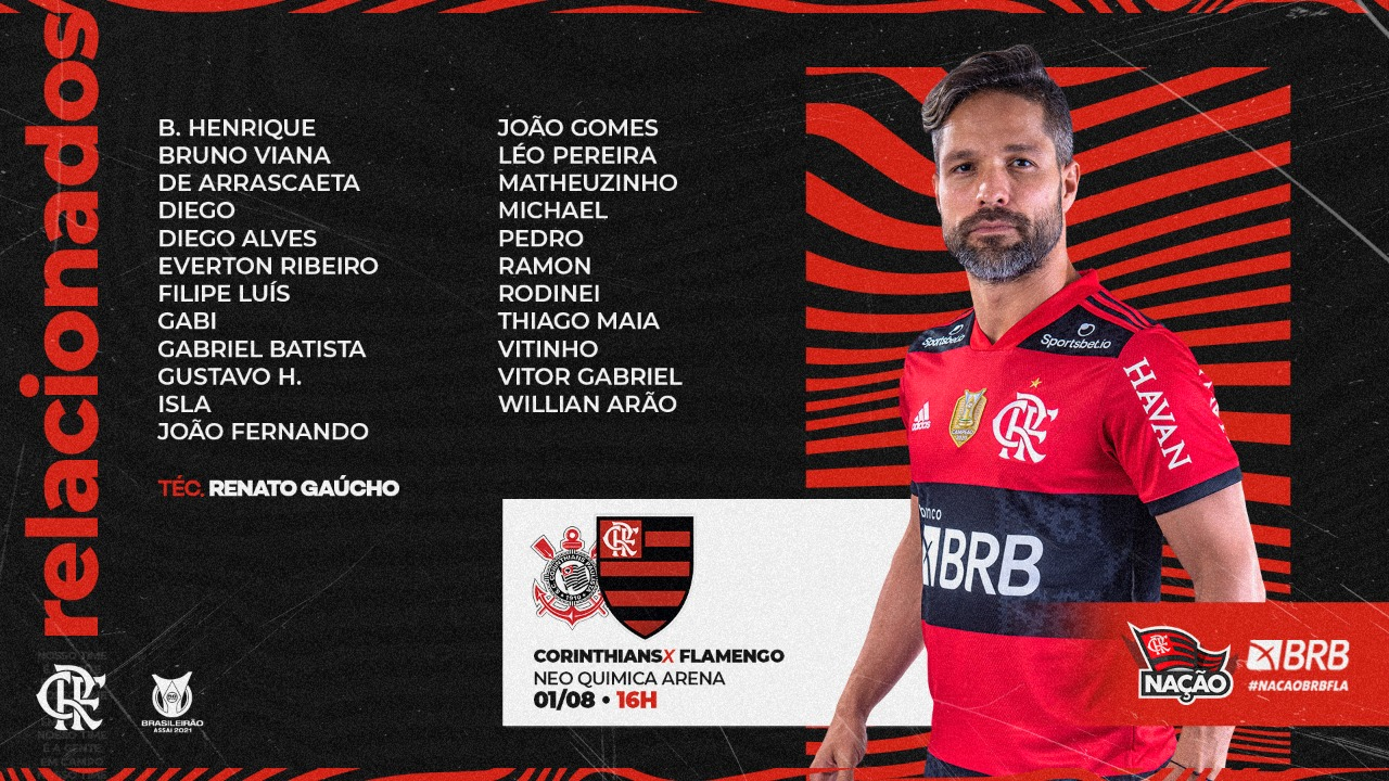 Flamengo divulga lista de relacionados para jogo contra o Corinthians pelo Campeonato Brasileiro