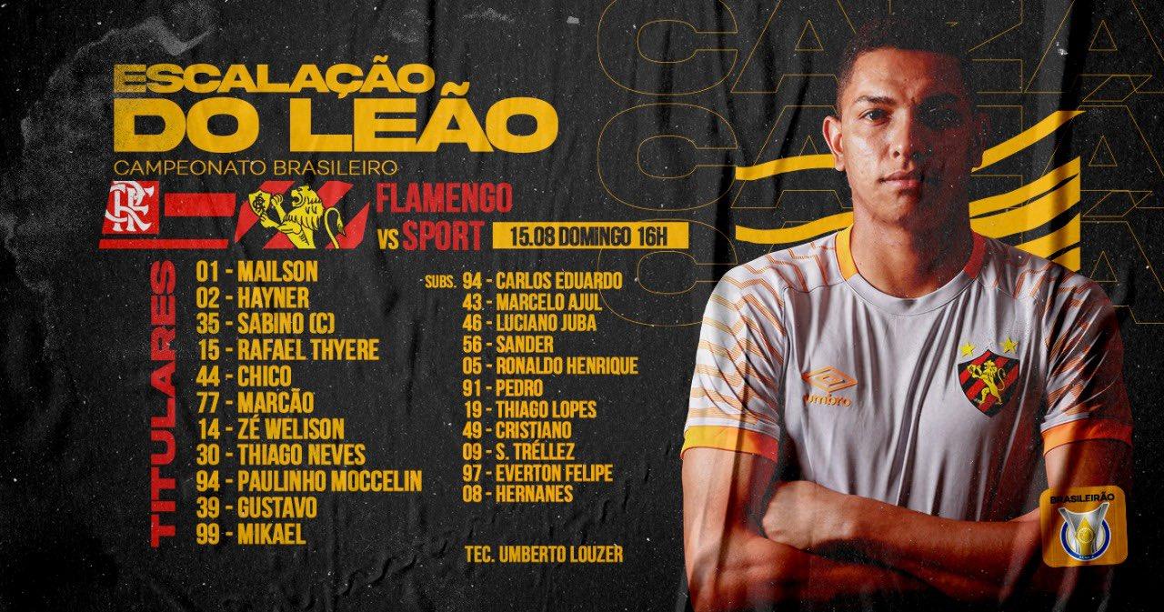 Sport escalado para pegar o Flamengo pelo Campeonato Brasileiro