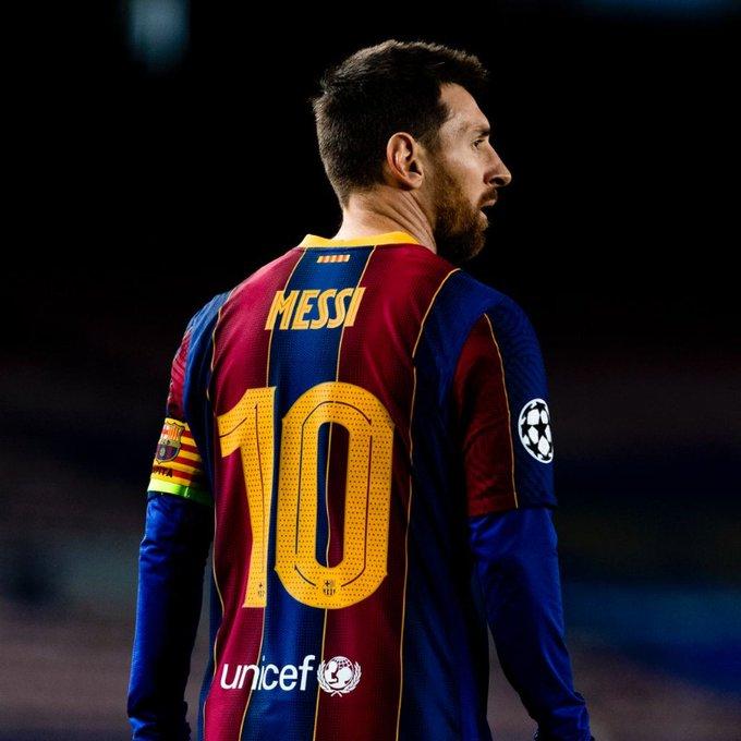 Lionel Messi com a camisa do Barcelona