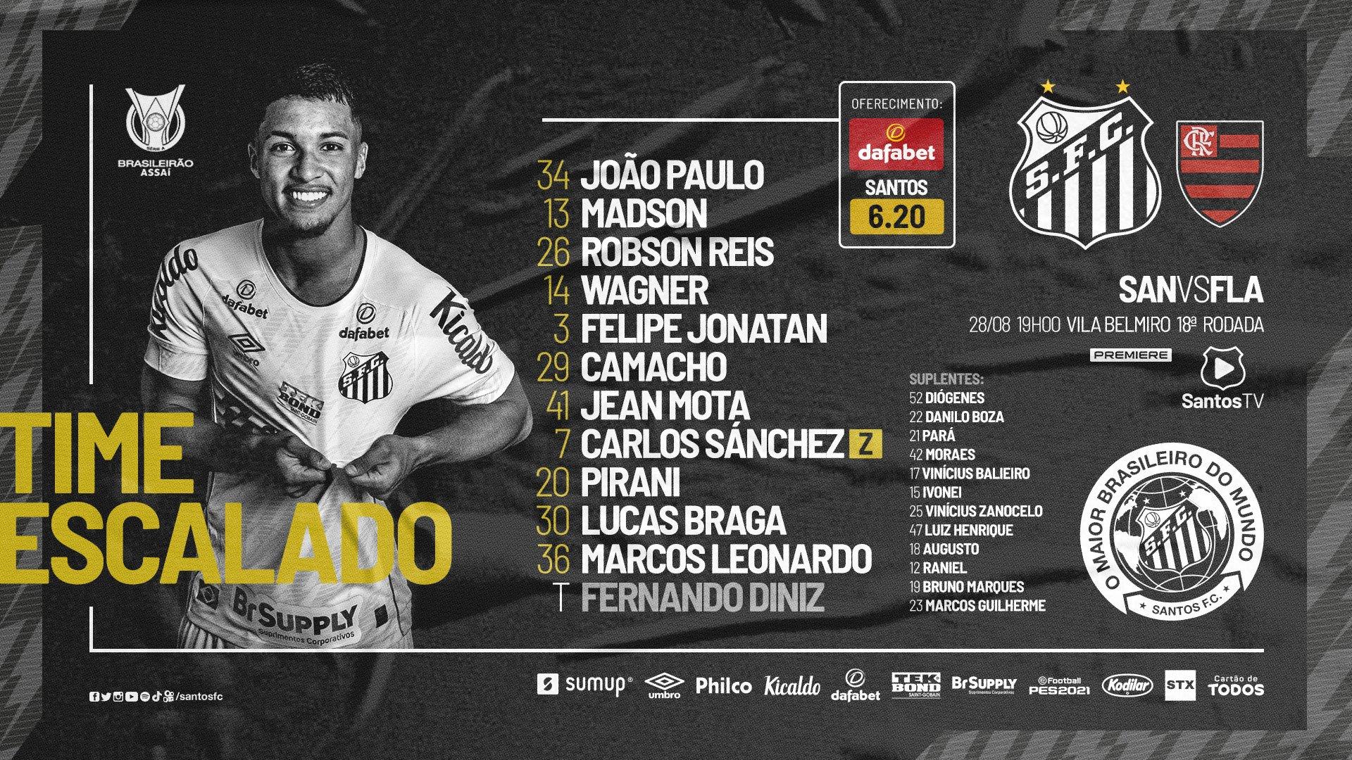 Santos escalado para pegar o Flamengo pelo Campeonato Brasileiro