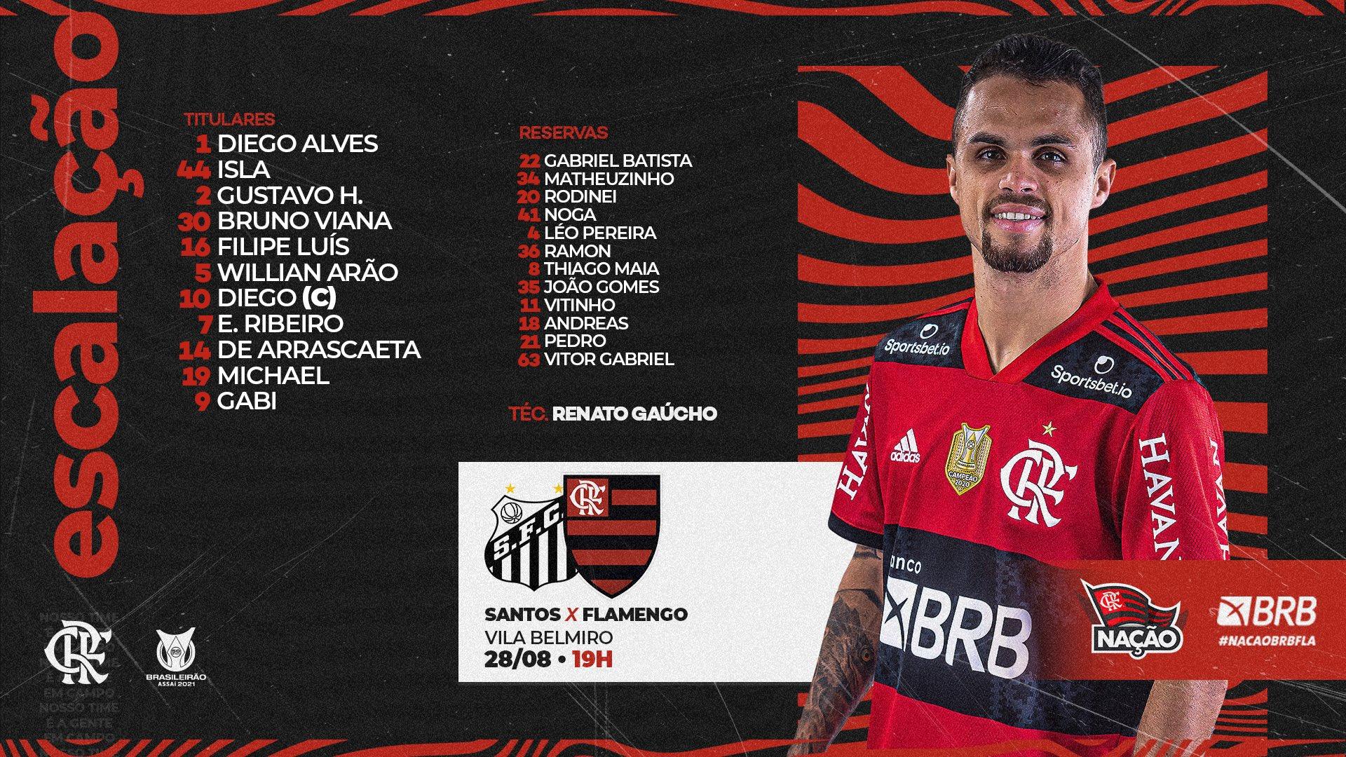 Flamengo escalado para pegar o Santos pelo Campeonato Brasileiro