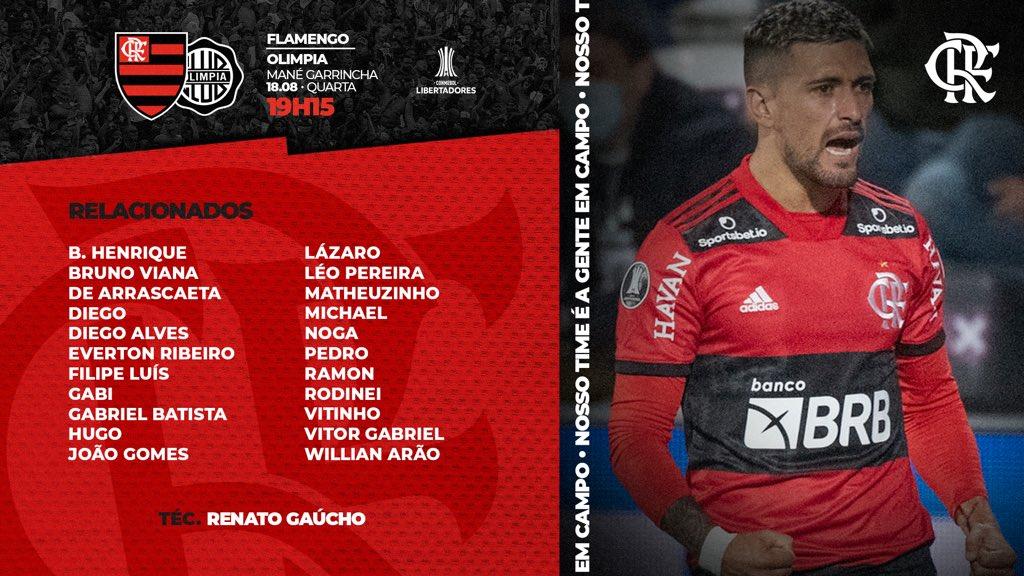 Flamengo divulga lista de relacionados para jogo contra o Olimpia, pelas quartas de final da Libertadores
