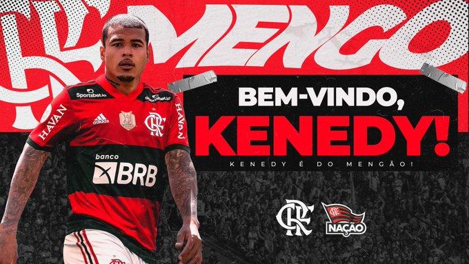 Arte de apresentação do atacante Kenedy no Flamengo)